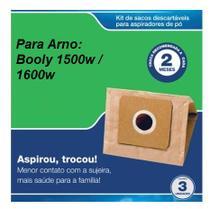Kit 3 unidades - Saco descartável para aspirador Arno Booly 1500w e 1600w -