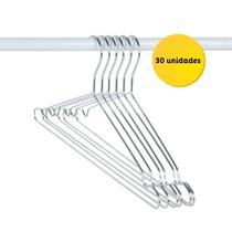 Kit 30 Cabides Cromado Arthi Com Cava - Pluglar