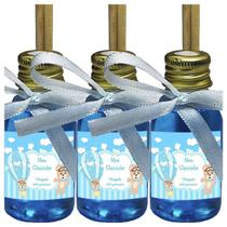 Kit 30 Lembrancinhas Maternidade - Ursinho Menino Arte Fixa 30ml MBA Fita Azul Claro - ClickStock