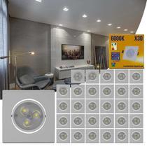 Kit 30 Spot Super LED 3W Quadrada Direcionável 6000K Branco Bivolt Alumínio Embutir Gesso Sanca Teto - Kit Iluminação