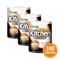 Kit 300 Toalhas Folha Tripla Kitchen Total Absorv -