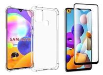 Kit 3D Capa Anti Shock  Samsung Galaxy A21s + Película Vidro 3D A21s - Namax