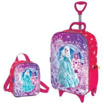 Kit 3D Meg Princess Mochila c/Rodinhas e Lancheira Infantil Soft Maxtoy - Diplomata