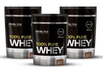 Kit 3un Whey Protein 100% Concentrado Probiótica Chocolate 825G -