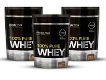 Kit 3un Whey Protein 100% Concentrado Probiótica Chocolate/Baunilha/Morango  825G -