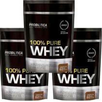 Kit 3x 100% Pure Whey 825g (2475 kg)- Refil - Morango Probiotica -