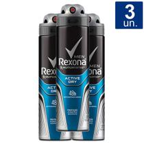 Kit 3X 150ml Desodorante Rexona Men Active Dry Aerosol Antitranspirante 48h -
