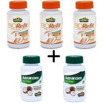 Kit 3X Bio Refit 60 caps e 2X Oleo de Coco 60 caps Sunflower -
