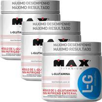 Kit 3x Glutamina 100% Pura Max Titanium 300gr Ganho Massa -