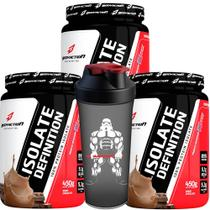 Kit 3x Whey Protein Isolate Definition Choco 1,35kg+Shaker Star Wars Bodyaction