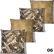 Kit 4 Almofada 4 Refil Jacquard Estampada Decorativa 45x45 - Doravante Enxovais