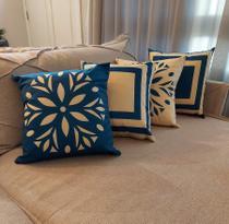 Kit 4 Almofadas Decorativa Estampada Enchimento de Fibra -