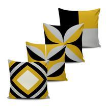 Kit 4 Almofadas decorativas Abstrata Amarela 45x45cm - Pano e Arte