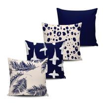 Kit 4 Almofadas decorativas Abstrata Azul e Bege 45x45cm - Pano e Arte