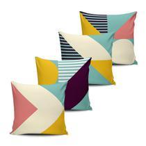 Kit 4 Almofadas decorativas Geometrica Color 45x45cm - Pano e Arte