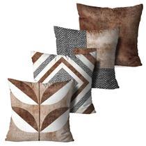 Kit 4 Almofadas Decorativas Marrom Leaf - Love Decor