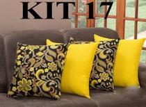 Kit 4 Almofadas Decorativas Sala E Sofa Com Ziper 45cm x 45cm - Mi amore