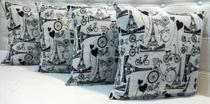 - Kit 4 Almofadas Decorativas Sued Jacquard Estampado Paris - Ingrid Bordados