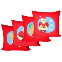 Kit 4 Almofadas Decorativas Vermelho Papai Noel - Decoradois
