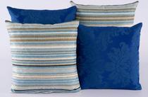 Kit 4 Almofadas Jacquard Decorativas Sala Sofá 40x40 Azul - Casahome