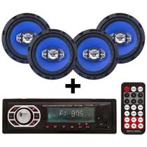 Kit 4 Alto Falantes 6 Pol + Radio Mp3 Bluetooth Usb Sd Aux - Multi marcas
