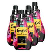 Kit 4 Amaciantes de Roupa Comfort Concentrado Glamour Intense Perfumes Deluxe 1l -