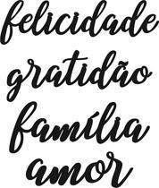 Kit 4 Apliques Palavras Gratidão Família Amor Felicidade Mdf - L&C Laser