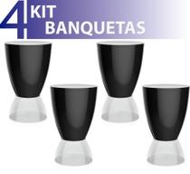 Kit 4 banquetas argo assento color base cristal preto - IM In