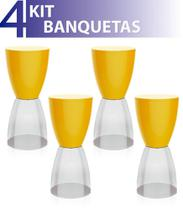 Kit 4 banquetas bery assento color base cristal amarelo - IM In