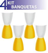 Kit 4 banquetas bery assento cristal base color amarelo - IM In