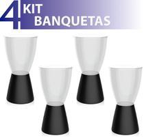 Kit 4 banquetas carbo assento cristal base color preto - IM In