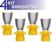 Kit 4 banquetas tin assento cristal base color amarelo - IM In