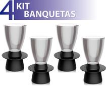 Kit 4 banquetas tin assento cristal base color preto - IM In