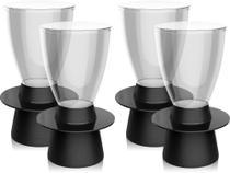 Kit 4 banquetas Tinn assento cristal base color preto - IM In