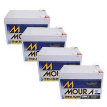 Kit 4 Baterias Seladas 12V 12ah Moura Vrla Agm - Nobreak -