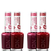 Kit 4 Batons Tinta Love Lip Color Love 2 Cherry  2 Red DNA - 10ml -