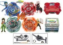 Kit 4 Beyblade Burst Valt Rantaro Ken Shu + 6 Lançadores + Arena + Maleta - Tornado Gyro E Hasbro