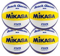 Kit 4 Bolas de Vôlei de Praia VXL30 Branco, Amarelo e Azul - Mikasa -