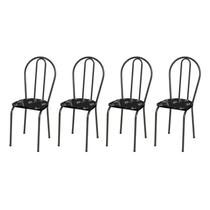 Kit 4 Cadeiras 004 Cromo Preto/Florido - Artefamol -