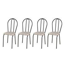 Kit 4 Cadeiras 004 Cromo Preto/Rattan - Artefamol -