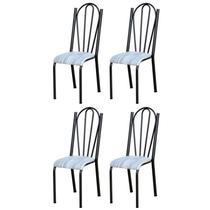 Kit 4 Cadeiras 021 América Cromo/Preto Linho - Artefamol -