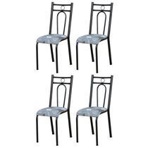 Kit 4 Cadeiras 023 América Cromo Preto/Pará - Artefamol -