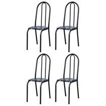 Kit 4 Cadeiras 050 América Cromo Preto/Florido - Artefamol -