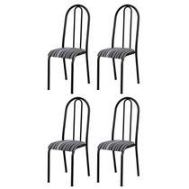 Kit 4 Cadeiras 056 América Cromo Preto/Listrado - Artefamol -