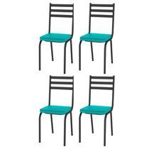 Kit 4 Cadeiras 118 Europa Preto/Azul Turquesa - Artefamol -