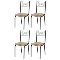 Kit 4 Cadeiras 119 Europa Preto/Rattan - Artefamol -