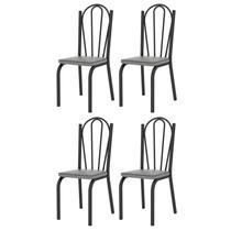 Kit 4 Cadeiras 121 Europa Preto/Platina - Artefamol -