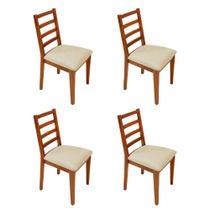 Kit 4 Cadeiras Almofadada De Madeira Marselha Mel - Palha - Nina Mobilia