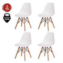 Kit 4 Cadeiras Charles Eames Eiffel Nude Base Madeira - Baba Shop