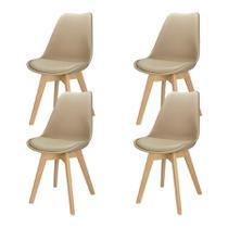 Kit 4 Cadeiras Charles Eames Leda Design Wood Estofada Base Madeira Trato - Bege -